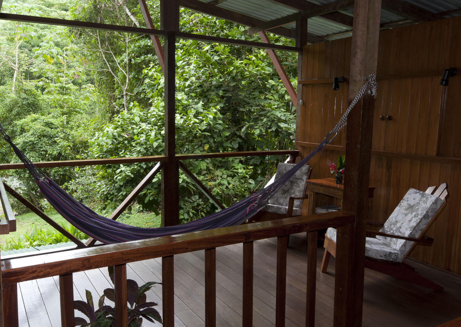 There are additional sitting areas on the second floor of the lodge, which provides great views of the forest