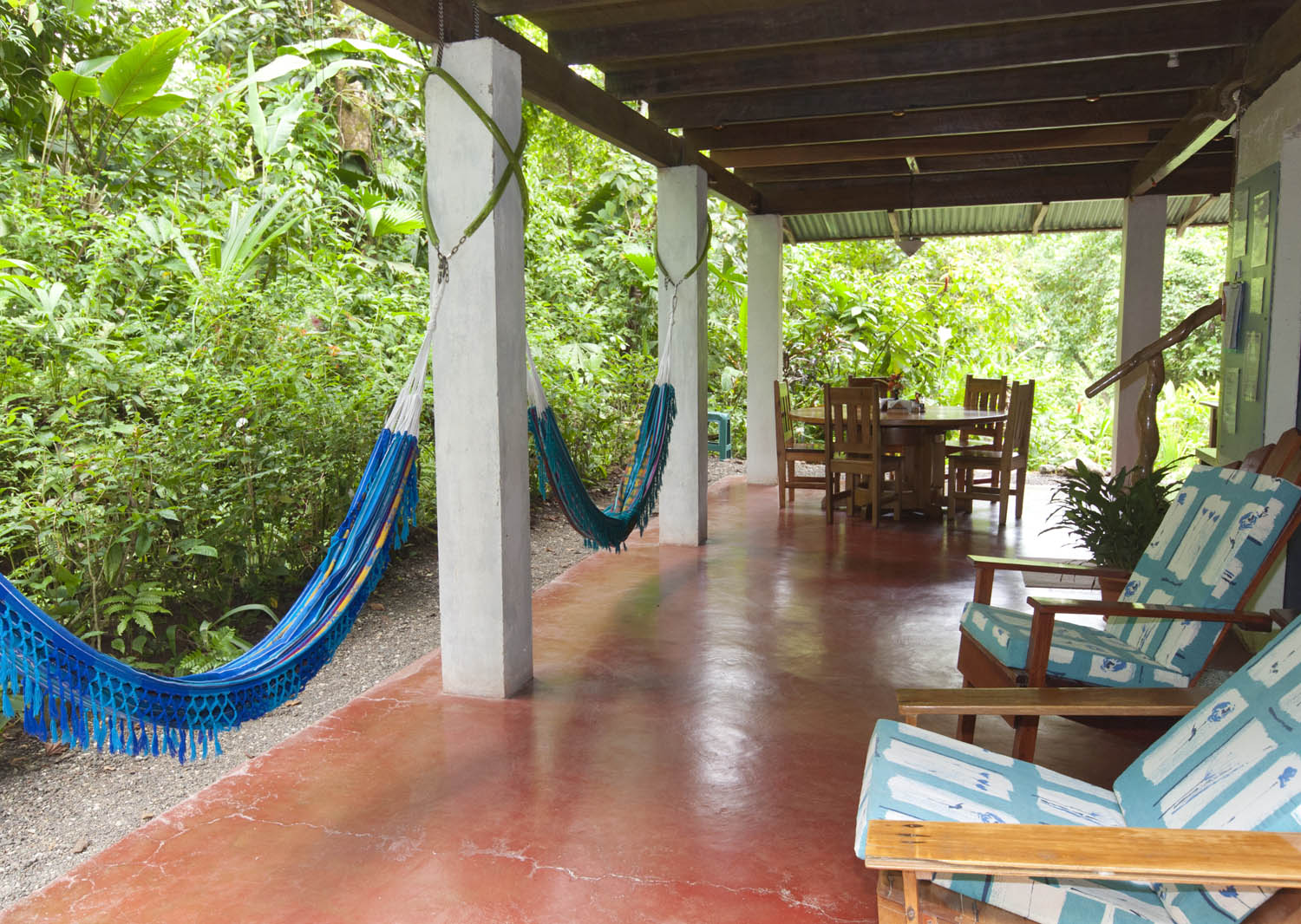 Our lodge provides plenty of sitting and lounging areas for you to watch for wildlife or read a book