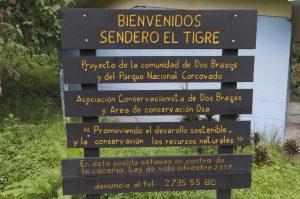 Entance sign for the Rio Tigre Trail in Corcovado Nacional Park