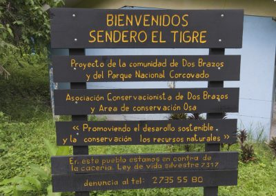 Trail sign for the new local Corcovado park trail. Photo by Jeff Zuhlke